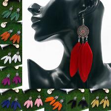 Feather Tassel Rhinestone Bohemian Earrings Boho Casual Long Dangle Drop Women