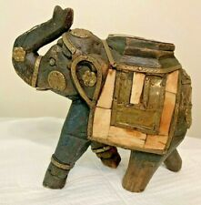 VTG Wood Elephant Statue Brass Copper Hand Made Trunk Up Collectible