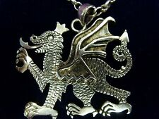 Huge Large Welsh Dragon Draig Cymru 925 Silver Necklace pendant Silver Chain 70s