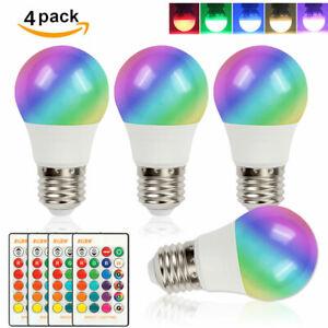4Pack E26 E27 5W RGB LED Light Bulb 16 Color Changing Lamp IR Remote Control US