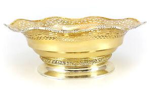 """Gebruder Deyhle Gilt .800 Silver Bowl 12"""", c1900 Pierced Foliate Scrolls 22toz"""