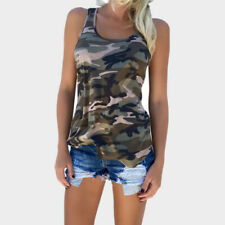 Plus Size Womens Summer Camo Vest Top Sleeveless Camouflage Tank Top T-Shirt Tee