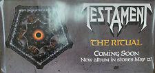 TESTAMENT The Ritual, orig Atlantic promotional poster, 1992, 12x24, EX, metal