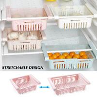Plastic Storage Rack Basket Kitchen Freezer Fridge Drawer Slide Shelf Organizer