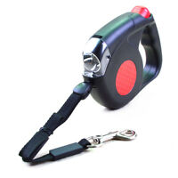 Super Retractable Dog Leash with LED Flashlight Torch / 4.5 Meters / BK