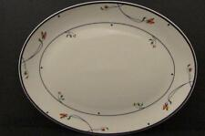 "Ariana by Gorham 14"" Oval Serving Platter Town & Country Blue Band Amber Flowers"