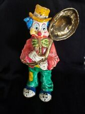"""Vintage Paper Mache Clown Playing Tuba Signed """"Los Gatos Mexico"""" 13"""" Tall"""