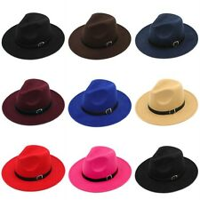 Kid Boys Girls Child Felt Fedora Hat Trilby Wool Blend Panama Cap Leather Buckle
