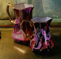 Pair of vintage porcelain milk jugs hand-painted by Sarah South Gilded