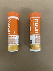 2 PACK nuun Hydration Immunity 10 Tablets each EXP 8/21 ORANGE CITRUS FREE SHIPP