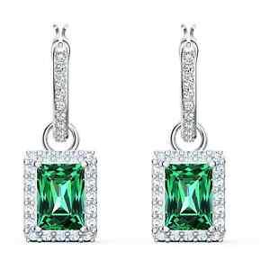 Swarovski Angelic Rectangular Pierced Earrings, Green, Rhodium Plated 5559834