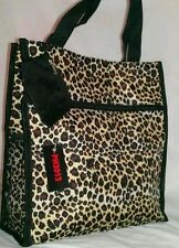 Leopard Animal Print Handbag Tote Bag Microfiber Black Multi & Coin Purse Set