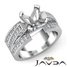 Diamond Princess Semi Mount Engagement Ring Pave Setting Platinum 950 1.25Ct