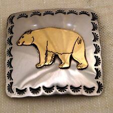 "3""Nickel Silver & Brass Overlay Concho Square Bear"