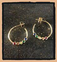 Boucles D'oreilles Créoles ouvertes cristaux multi-couleurs Plaqué or 18 Carats