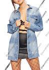 neuf délavé déchiré surdimensionné boyfriend long veste en jeans taille 8 10 12