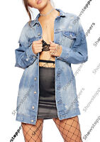 NEW Distressed Ripped Oversized Boyfriend Longline Denim Jacket Size 8 10 12 14