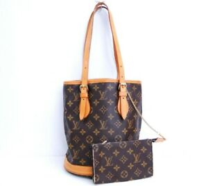 NEED REPAIR Louis Vuitton Shoulder Hand Bag Bucket PM M42238 Monogram Brown