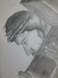 Pencil Hand Drawn Jesus crucified Purchase Helps Student School Family Expenses