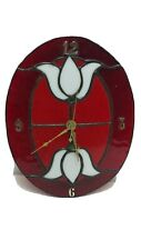 Stained Glass Flowered Clock Vintage Country Farmhouse