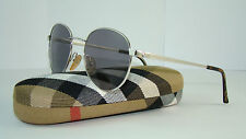 NEW VINTAGE BURBERRY B8821 YB7 Round Silver SUNGLASSES Grey Lens Size 55