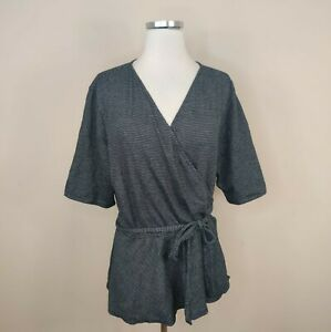 Ann Taylor Loft Wrap Top Blouse XL Black Stripe Cotton Blend Flutter Sleeves