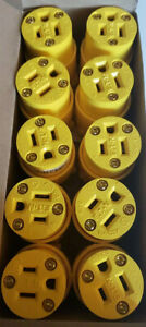 Eaton 10 Pack Yellow Grounding Connectors 4887-BOX Female 15A-125V 2-pole 3 wire