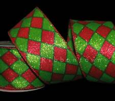 10 Yards Christmas Red Green Glitter Diamond Harlequin Jester Wired Ribbon