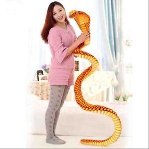 2.5M Big Stuffed Animal Simulation Gold Cobra Snake King Plush Toy Tricky Doll
