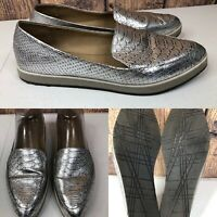 Womens KENNETH COLE REACTION 'Passport' Silver Loafers Flats Shoes SIZE 8 M