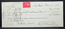 US Check Garfield National Bank NY Chemical Co. Documentary Stamp 1899 (H-7032+