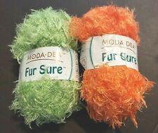 2 MODA DEA SUPER BULKY ACRYLIC/NYLON EYELASH YARN Green & Orange 50g/98y each