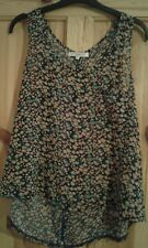 ladies multi coloured/floral motif sheer floaty summer top size Small New Look
