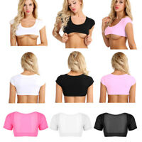 Women Sexy Transparent Mesh Crop Top T-Shirt Cotton Bra Vest Tank Top Tee Blouse