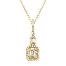 0.69CT 18K Yellow Gold Baguette Diamond Emerald Design Square Pendant Necklace
