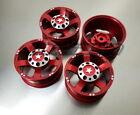 1/10 Scale 1.9 Aluminium Crawler Truck Wheels Rims SCX10 CC01 JEEP D90 TRX-4 RED