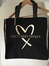 NWT Victoria's Secret 2017 Black & Gold Love/Heart Canvas Tote Bag Travel
