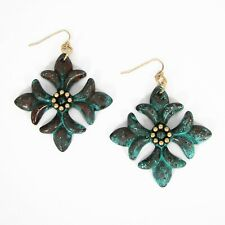 Verde Patina Metal Gold Tone Accent Southern Living Floral Cross Earrings Bronze