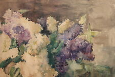 Vintage watercolor painting impressionist still life with flowers