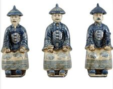 New Oriental Qing Blue & White Porcelain Royal Asian Men Figurines Set of 3