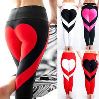 Women's High Waisted Yoga Pants Heart Shape Sports Gym Fitness Workout Leggings