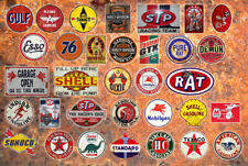 12 GAS OIL DECAL STICKERS 1:18 O SCALE GAS STATION SIGN DIORAMA GULF TEXACO +
