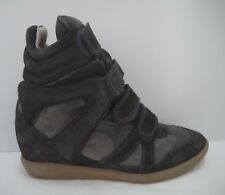 ISABEL MARANT $680 Bekett gray suede hidden wedge high-top sneaker size 40 9 8.5