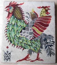 Vintage Tapiz Bordado de mediados de siglo-Gallo Gallo Gallina Verde Rojo
