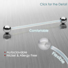 "4 Pc Nickel Free Bioflex Flexible Industrial Barbells with Steel Balls 14g 1.5"""