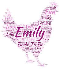 Personalised Hen Night Party Bride To Be Keepsake Word Art Print