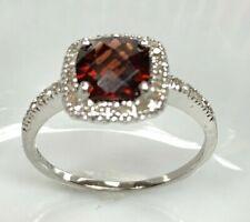 Ema Garnet Ring with Diamond in 14K White Gold Sz 8