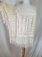 Angel of the North Sayulita Lace Pullover Poncho Top XS S Fringe Anthropologie