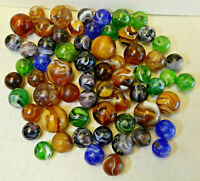 9695m Vintage Group or Bulk Lot of 60 Mixed Company Slag Marbles .61 to .92 In