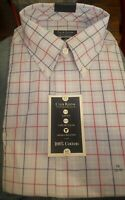 Club Room Mens Dress Shirt Regular Fit Blue / Red Size 17 1/2 36/Button Down $55